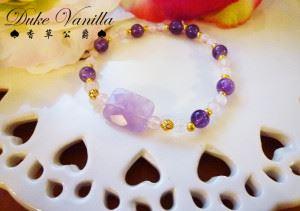 E168長方型紫晶粉晶紫晶金珠相間手環4