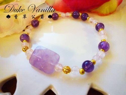 E168長方型紫晶粉晶紫晶金珠相間手環3