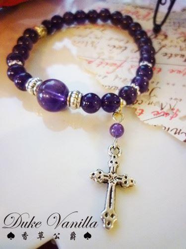 E194深紫晶側搭十字架手環2