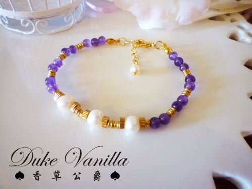 EB018黃銅工型珠珍珠小紫晶手鍊
